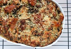 A savory mushroom bread pudding would make a memorable Thanksgiving side dish.