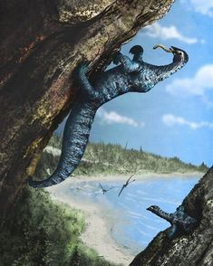 Drepanosaurus unguicaudatus having a bite to eat. By Mark Witton. Another weird Triassic animal which was too awesome to make it into the Jurassic.