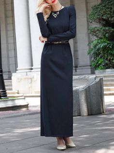 Shop Maxi Dresses - Long Sleeve Elegant Slit Plain Crew Neck Maxi Dress online…