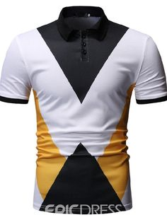 Ericdress Color Block Button Casual Mens Polo Shirt Find latest women's clothing, dresses, tops, outerwear, and other fashion clothing and enjoy the worldwide shipping # Mode Polo, Polo Noir, Men's Polo, Casual Shirts For Men, Men Casual, Polo Fashion, Mens Tees, Men Shirts, Summer Shirts