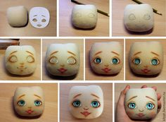 Stages of registration of a doll face - we trace eyes and we glue eyelashes Doll Face Paint, Doll Painting, Mini Hot Dogs, Clothespin Dolls, Creation Couture, Doll Eyes, Doll Tutorial, Sewing Dolls, Waldorf Dolls