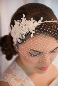 Ivory Veil Lace Pearl Crystal Headband Birdcage by FleursdeParis