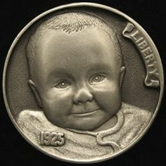 """""""Ella's Hobo Nickel"""" carved by Steve Adams Us Coins, Rare Coins, Gold Coins, Steve Adams, Hobo Nickel, Coin Art, Copper Penny, Antique Coins, Coin Jewelry"""