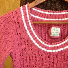 Pink with White Stripe Scoop Neck Sweater Medium weight sweater, pink with white stripes along sleeves, hem and neckline, in good condition Old Navy Sweaters Crew & Scoop Necks