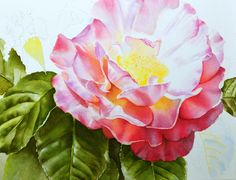 Learn how to create glowing flowers in watercolor - How to paint watercolor flowers - work in progress by Doris Joa