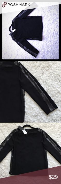 Black sequined Banana Republic blouse Pretty blouse for a nice night out or dinner date. Sleeves have a black sequin strip going through them. Shirt is flowy and flattering Banana Republic Tops Blouses