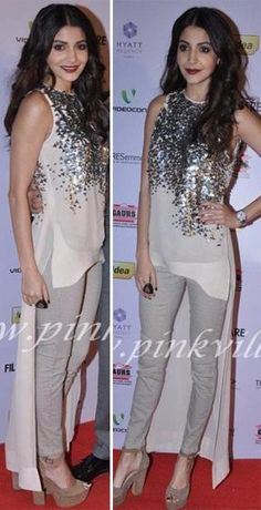Anushka Sharma went the casual route at the Filmfare Nominations party in a Rohit Gandhi + Rahul Khanna asymmetrical hem sequined top paired with den. Western Dresses, Western Outfits, Indian Outfits, Latest Indian Fashion Trends, Girl Fashion, Fashion Outfits, Anushka Sharma, Pakistani Bridal, Indian Designer Wear
