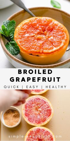 Broiled Grapefruit with sugar, ginger, and coconut oil is a delicious snack that's easy to make! It's easily customizable to be oil-free and refined-sugar free for an ultra healthy treat. Low Fat Vegan Recipes, Healthy Vegan Snacks, Vegan Appetizers, Vegan Meals, Raw Food Recipes, Brunch Recipes, Drink Recipes, Appetizer Recipes, Healthy Recipes