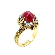 Yellow Gold, Star Ruby and Diamond Lady's Ring - - Gold Stars, Yellow Gold Rings, Rare Antique, Beautiful Rings, Gemstone Rings, Engagement Rings, Jewels, Diamond, Antiques
