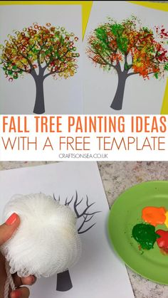 Fall Tree Painting Ideas With A Free Template