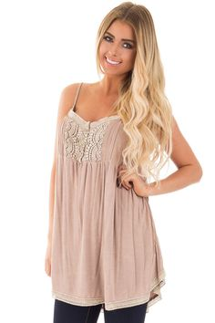Lime Lush Boutique - Beige Strappy Tunic with Crochet Detail, $36.99 (https://www.limelush.com/beige-strappy-tunic-with-crochet-detail/)