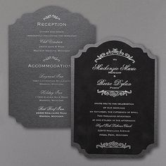 Velvety. Crest shaped. Foil printing. A black velvet wedding invitation so rich and so vogue is the only way to introduce your glamorous big day.