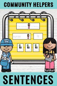 Here's a set of sentence builders featuring Community Helpers! Students will build sentences using visual models for support and then unscramble five sentence sets! This early writing center can be used all year long. #communityhelpers #sentencepractice