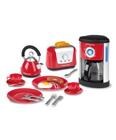 Every cook needs a well-stocked kitchen, even if their favorite food is peanut butter and jelly. This incredible set outfits sweeties with just-their-size appliances and accessories, from a cute kettle with level gauge indicator to a toaster that makes a ''pop-up'' noise when the toast is ready. Even the coffeemaker has a water function that delights darlings!