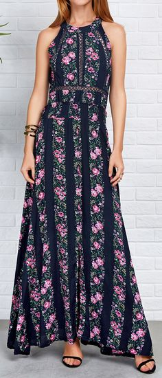 Only $21.99! Free shipping & Easy Returns+Refund! This hollow maxi dress with floral printing& open back is so gorgeous and chic.So hurry and get this in you wardrobe Cupshe.com !