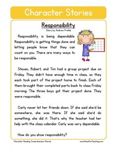 This Reading Comprehension Worksheet - Work Ethic is for teaching reading comprehension. Use this reading comprehension story to teach reading comprehension. First Grade Reading Comprehension, Reading Comprehension Worksheets, Reading Fluency, Reading Passages, Reading Strategies, Values Education, Character Education, Education College, Have Fun Teaching