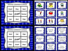 Making Comments BINGO! A fun way to practice conversational and perspective taking skills.  This activity is great for supporting students who need practice responding to others and with general conversational skills. It is also helpful for those who need practice with perspective taking. Students enjoy reading the scenarios and figuring out how they might comment. Each BINGO level includes written and picture cards to reach a wide variety of learners.