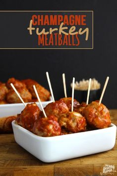 Champagne Turkey Meatballs for your next game day party or dinner party! A perfect cocktail appetizer recipe.