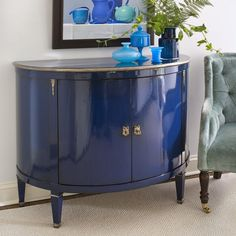 luxury furniture - hand-painted furniture - Demilune wood cabinet with lightly distressed lacquered blue finish Lacquer Furniture, Blue Furniture, Art Deco Furniture, Furniture Logo, Refurbished Furniture, Colorful Furniture, Paint Furniture, Luxury Furniture, Furniture Makeover