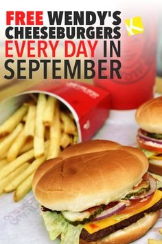 Free Wendy's Cheeseburgers Every Day in September - You can get a FREE BURGER every day in September by using the Wendy's app. Share this with all your friends, co-workers, and any college students you know! Free Fast Food Coupons, Give Away Free Stuff, Couponing For Beginners, App Share, Date Recipes, Copycat Recipes, Gift Cards, College Students