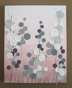 """Pink and Grey Textured Flower Art, Original Painting on Canvas, 16x20"""" READY TO SHIP"""