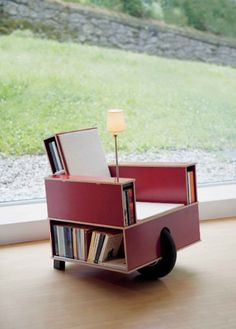 Rolling bookcase chair.