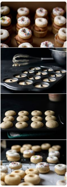 Doughnut cupcakes. wow I know what to do w those stupid cupcake tins now