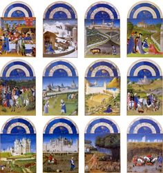 The labors of the months from the Tres Riches Heures, one of six medieval Books of Hours of Jean, Duc de Berry. Medieval Books, Medieval World, Medieval Manuscript, Medieval Art, Illuminated Letters, Illuminated Manuscript, Berry, Renaissance Paintings, Book Of Hours