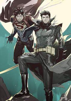 [Fan Art] World's Finest by 멍냥 Batman Art, Batman And Superman, Superman Anime, Damian Wayne Batman, Batman Arkham, Batman Robin, Hq Marvel, Marvel Comics, Dc Comics Women