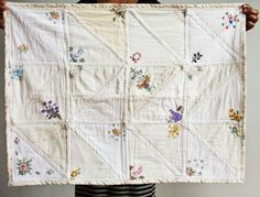 vintage embroidered hanky quilt - fran and I have been trying to think of something to do with her vintage fabrics