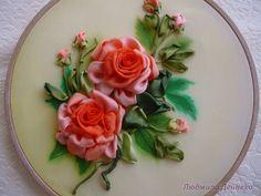 I ❤ ribbonwork . Ribon Embroidery, Ribbon Embroidery Tutorial, Hand Embroidery Patterns, Ribbon Art, Diy Ribbon, Handmade Flowers, Handmade Crafts, Organza Flowers, Ribbon Flower
