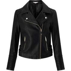 Miss Selfridge PETITE Black PU Biker Jacket ($95) ❤ liked on Polyvore featuring outerwear, jackets, black, petite, miss selfridge jackets, motorcycle jacket, petite jackets, moto jackets and biker jackets