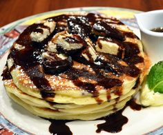 December 2015 Pancake of the Month at Miss Shirley's Cafe, Roland Park - Berger Cookie Pancakes; garnished with Berger Cookie Pieces, Chocolate Sauce & Powdered Sugar