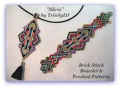 SILVIA PENDANT - Brick Stitch PENDANT has been designed for the use of Delica seed beads. If you want a matching bracelet (as seen in the 2nd photo), please follow this link for the pattern: https://www.etsy.com/listing/467313444/bp-br-062-2016-127-silvia-brick-stitch?ref=shop_home_active_16 +++++++++++++++++++++++++++++++++++ THIS PATTERN DOES NOT INCLUDE WORD CHARTS SINCE WORD CHARTS DOES NOT SHOW INCREASES AND DECREASES CORRECTLY!! ++++++++++++++++++++++++++++++++++++ BRACELET PATTERN ...