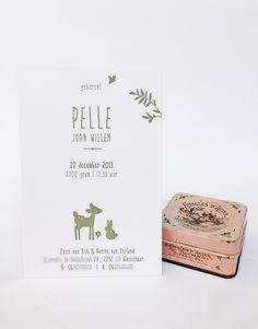 Letterpress geboortekaartje Pelle met dieren illustraties