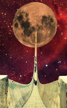 to the moon and back #unknown #collage #luna