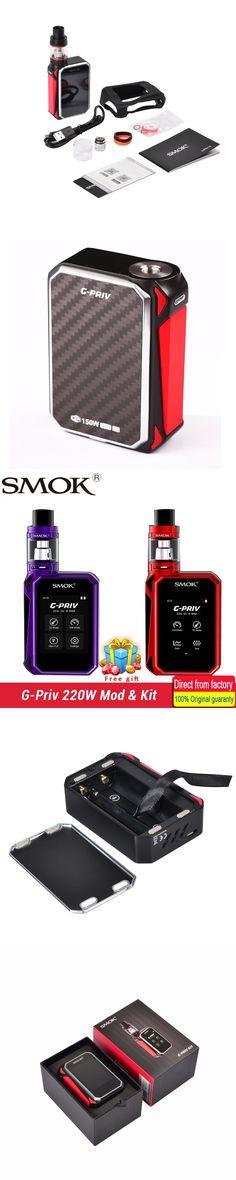 E-Cigarette Smok G-Priv 220W Touch Screen kit GPriv G priv Mod Vape 5ML TFV8 Big Baby Tank Atomizer Vaporizer vs AL85 &Alien Kit