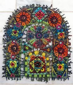 "Art In Stitches: Twelve ""Window Series"" pieces complete! Felt Embroidery, Machine Embroidery Applique, Fabric Art, Fabric Crafts, Nausicaa, Creative Textiles, Spirited Art, Sewing Art, Fabric Jewelry"