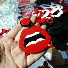 Hiphop Style Sexy Red Lips Earrings