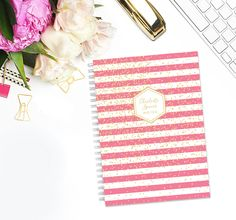 Personalized Notebook - Pink Stripes Gold Confetti- Custom Stationery Monogram Journal Note Book by LetterLoveDesigns on Etsy