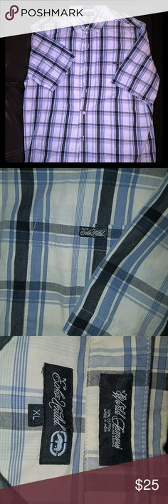 Ecko plaid button up NICE Men's ecko untld plaid button up good condition no holes stains or rips size XL  blue and white in color Ecko Unlimited Shirts Casual Button Down Shirts