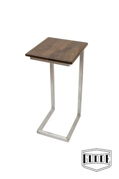 """Modern C-Table (or """"Sea Table"""") with Aluminum Base. Exotic Hardwood Imbuia Top. Handmade in Austin, TX by Gudde Co."""