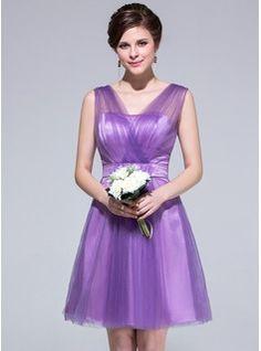 A-Line/Princess V-neck Knee-Length Tulle Charmeuse Bridesmaid Dress With Ruffle (007037279) - JJsHouse