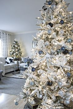 denim blue and cream Christmas living room
