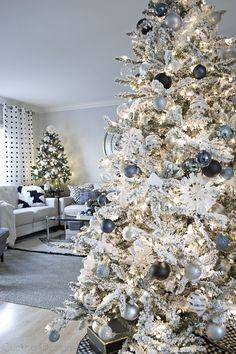 denim blue and cream Christmas living room