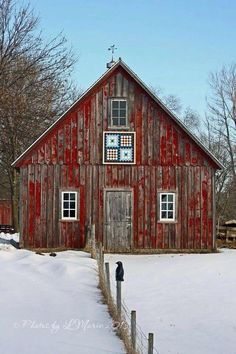 Carver County barn quilt on a chipped-red barn. Farm Barn, Old Farm, Country Barns, Country Living, Country Roads, Barn Living, Barn Pictures, Nature Pictures, Barn Art