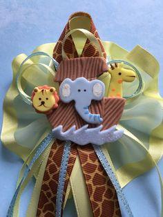 Noah's Ark Handmade Corsage/Pin/Birthday/Baby Shower /Christening/Safari Corsage/Cold Porcelain by MICHELLCUSTOMDESIGNS on Etsy https://www.etsy.com/listing/267102754/noahs-ark-handmade