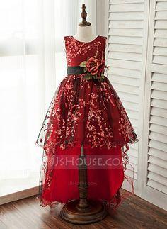 [US$ 58.79] A-Line/Princess Knee-length/Asymmetrical Flower Girl Dress - Lace Sleeveless Scoop Neck (010125812)