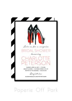 10 amazing sexy red bottom high heels bridal shower bachelorette bridal showerbachelorette party 5x7 invitation with hand painted louboutins red soles printable and personalized filmwisefo