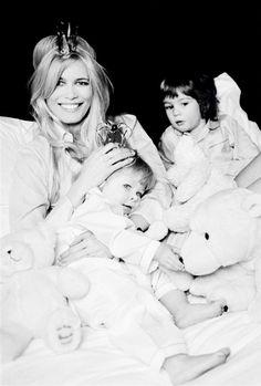Claudia Schiffer and her children Caspar and Clementine by Ellen von Unwerth for Elle France February 2007